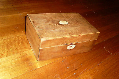 OLD SHABBY VINTAGE 30s WOODEN BOX -MOTHER OF PEARL INLAY -RESTORATION PIECE