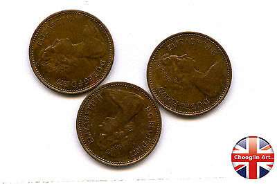 Collection of x3 1977 British Bronze ELIZABETH II HALF NEW PENNY Coins
