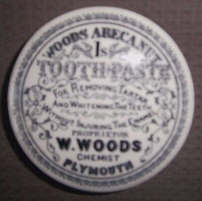 W Woods Chemist of Plymouth Toothpaste Pot Lid