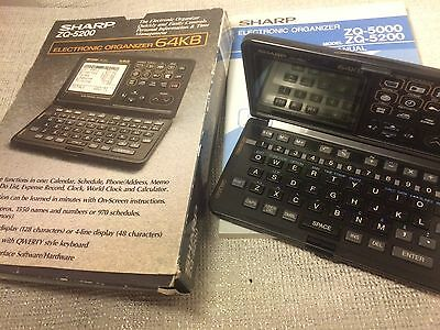 Vintage Sharp Zq-5200 Electronic Organizer 64Kb With Box & Instructions