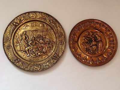 Embossed Brass Wall Plaque Plate x2 Depicting People Inn Pubs Musicals