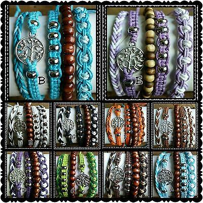 Wholesale set of  50 adjustable cotton friendship boho tree of life bracelets