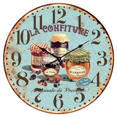 French Country Chic Vintage Inspired Wall Clocks 58CM KITCHEN JAMS BLUE
