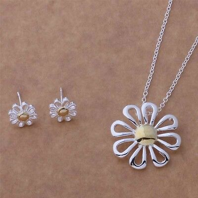 Fashion Ladies jewelry solid 925silver Daisy Necklace & Earrings New Gift