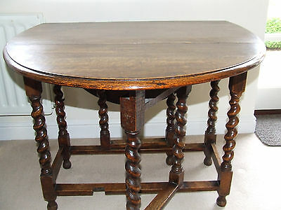 Early 20Th C  Oak Gate Leg Table With Barley Twist Legs