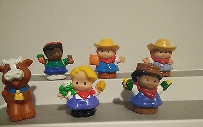 Set of 6 Modern Chunky Fisher Price Little People Farmer Cow Garden Crops