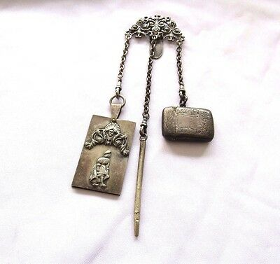 Antique Victorian Chatelaine Sterling Silver w/ Dance Card, Pencil, Match Safe
