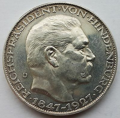 Germany 5 Mark Pattern Silver Cown Medallic Issue 1927 D