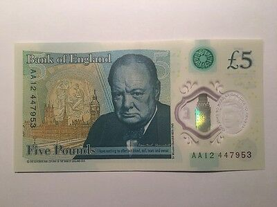 New £5 Note Serial No AA12 447953