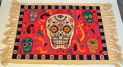 """PLACEMAT Day of the Dead SUGAR SKULL 100% Heavy Cotton Stencil RED 13"""" x 19"""""""
