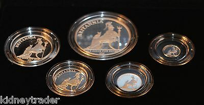 2013 Britannia Five Coin Silver Proof Set. 3,000 made with this case