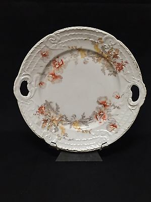 Austrian LS&S Carlsbad Cake Plate with Handles - Floral Hand Numbered