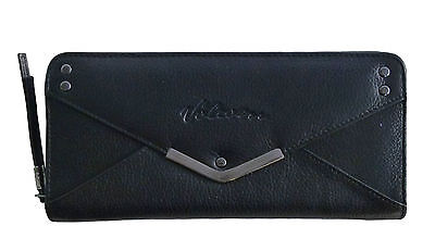 VOLCOM New Ladies Leather Purse Wallet Black ENVELOPE
