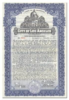 City of Los Angeles Bond Certificate