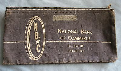National Bank Of Commerce Of Seattle Zippered Bank Deposit Bag