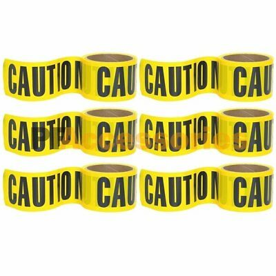 "6 Rolls 100 FT x 3"" inch CAUTION Barrier Tape Yellow Waterproof Vinyl Ribbon"