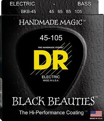 DR BKB-45 BLACK BEAUTIES COATED BASS STRINGS, MEDIUM GAUGE 4's  45-105
