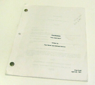 Rare The Simpsons Who Gets Bart? First Draft Script Screenplay April 25 1991