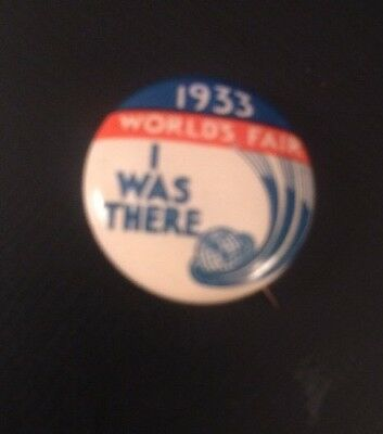 """1933 Chicago World's Fair Pin """"i Was There"""" - Century Of Progress Pinback"""