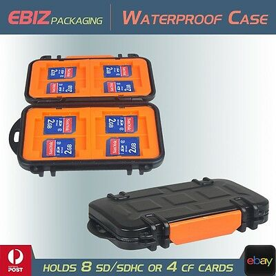 Ultimate Waterproof Anti-shock Tough Case Holds 8x SD SDHC 4x CF Memeory Cards