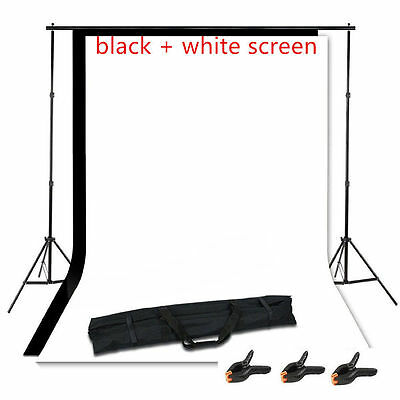 Photography Studio Black+White Backdrop Background Photo Stand Muslin Kit Set BP