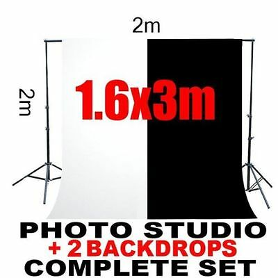 US 1.6*3m Backdrop Photo Studio Screen Background Stand Kit Black White BP