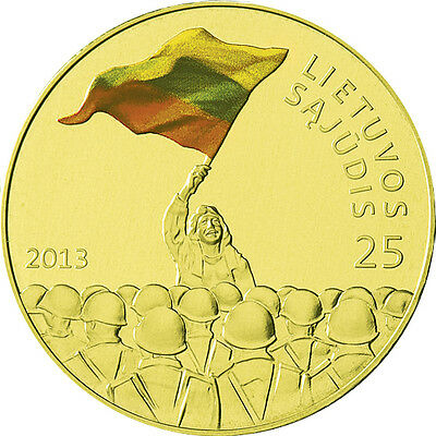 coin of Lithuania 2013 Lituanie - 25 years to Lithuania's rebirth - 25 Litas UNC
