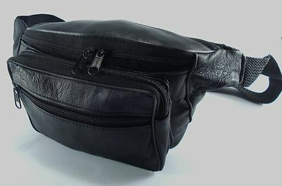 JL Genuine Sheep Leather Waist Bum Bag Black Belt Travel Fanny Pack Money Belt 4