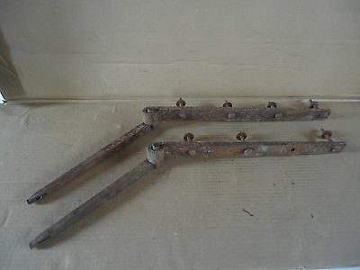 "Large Pair of 20"" Hand Forged Barn Shed Door Strap Hinges w/ Pintles"