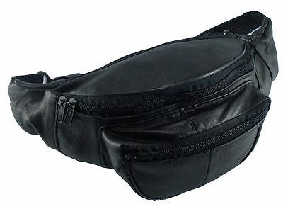JL Genuine Sheep Leather Waist Bum Bag Black Belt Travel Fanny Pack Money Belt
