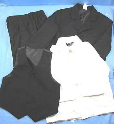 Boys 3 Piece Black Polyester Suit & White Dress Shirt Size 5
