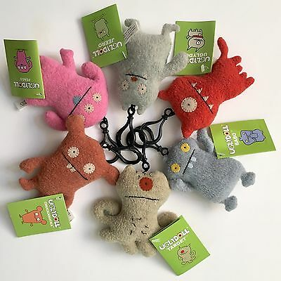 "Uglydoll Clip On Lot of 6 Plush Ugly Dolls Backpack Key Chain Peaco Babo 4"" NWT"