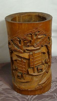ANTIQUE 19c CHINESE BAMBOO CARVED A FISHERMEN ON BOATS ON A RIVER ,BRUSH HOLDER