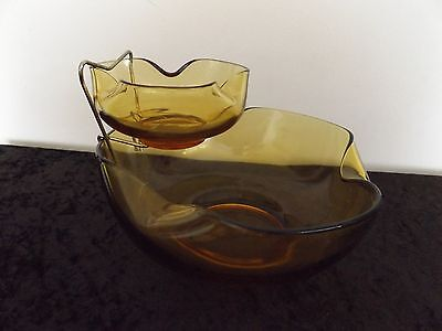 Vintage Anchor Hocking Chip And Dip Pair Bowls Avocado- Amber Glass