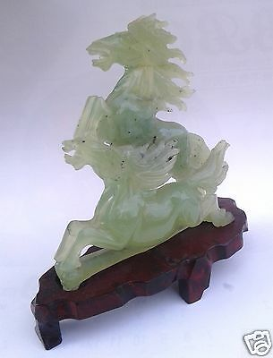 Vintage Chinese Hand Carved Natural Green Jade Double Horses On A Wood Stand
