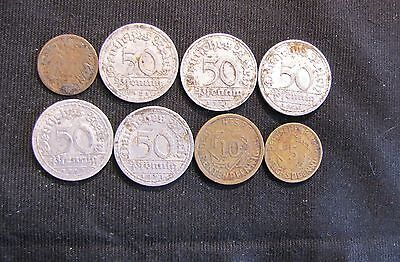 Lot of 8 German Coins - 1907-1925 Germany