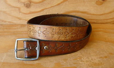 70s Vintage Hippie Tooled Brown Leather Belt & Buckle -size 38