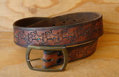 70s Vintage Hippie Tooled Brown Leather Belt & Buckle Size S 28-31