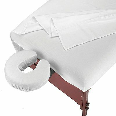 Master Massage 3 Piece Cotton Flannel Blend Linens Covers Table Sheet Set White