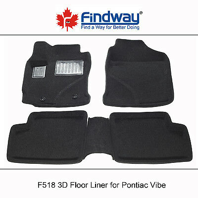 Black All Weather 3D Custom Car Floor Mats / Liners for 2003-2008 Pontiac Vibe