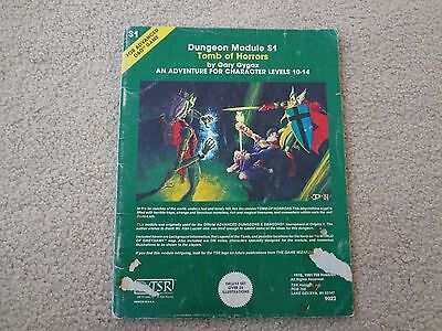 Tsr D&d S1 Tomb Of Horrors 9022 Module //  6Th Printing // Player Condition