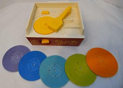 Vintage Working Fisher Price 1971 Record Play With 5 Records