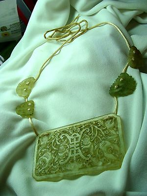 Antique Icy Jadite, hand carved necklace, Large w Amulets