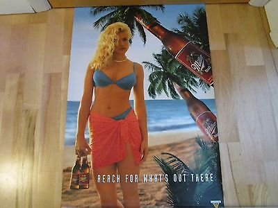 Sexy Girl Beer Poster Miller ~ Reach For What's Out There Blonde w Blue Swimsuit