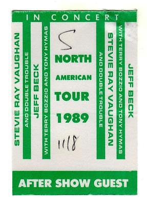 JEFF BECK & STEVIE RAY VAUGHN North American Tour 1989 SATIN BACKSTAGE PASS