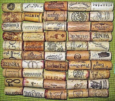 50 Natural Used Wine Corks, Free U.S. Shipping. No Synthetic, No Champagne.