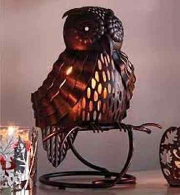 Artisan Owl Jar Holder with Golden Leaves 3 wick jar candle - Partylite