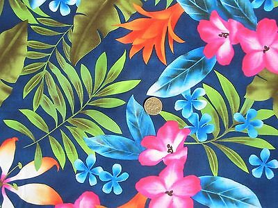Tropical FLOWERS and Leaves on Blue Quilt Patchwork Fabric per metre