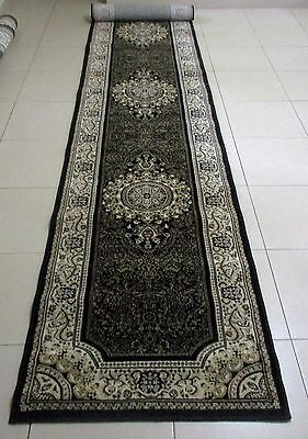 New Extra Long Black Persian Design High Quality Hall Runner Floor Rug 80X400Cm
