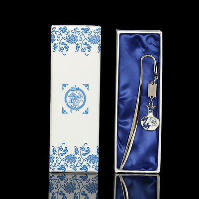 With Tassel 1PCS Chinese Folk Style Blue And White Porcelain Bookmark